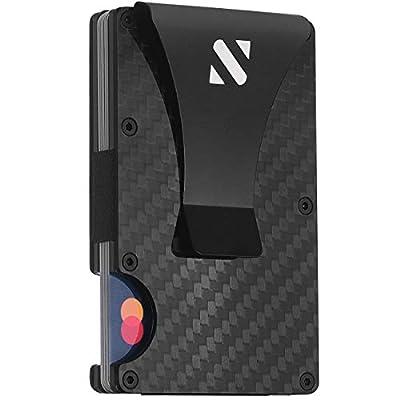 RFID Carbon Fiber Wallets for Men - Minimalist Aluminum Wallet for Men - Carbon Fiber Money Clip Wallet Metal - Mens Carbon Fiber Wallet Slim - Mens Wallet Carbon Fiber Card Holder with Money Clip