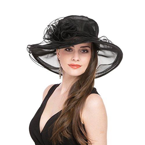 SAFERIN Women's Organza Church Kentucky Derby Hat Feather Veil Fascinator Bridal Tea Party Wedding Hat (Cc-Black)