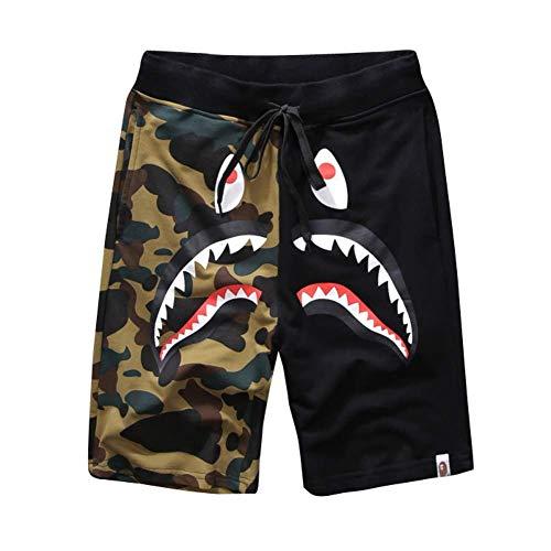 Bape Athletic Pants Shark Pattern Camo Bape Shorts Men Bape Sports Shorts (Black, L)