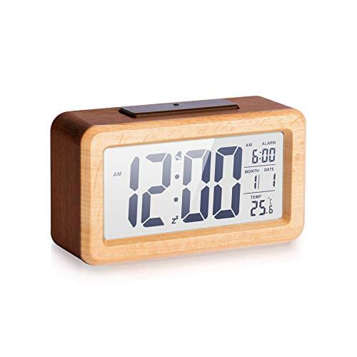 Wecker für den Nachttisch, aus Holz, digitaler Wecker, kein Ticken, verstellbare Helligkeit für Nachttisch, Schreibtisch, Regal