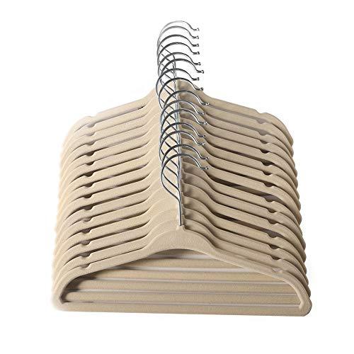 ManGotree Perchas de Ropa Aterciopelada, Bebé clasificado, Diseño Ultra Delgado y Sin Deslizamiento Paquete de 15 por(Beige)