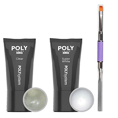 POLY GEL ACRYLIQUE Kit clair et super blanc á 30g dans le tube y compris Brosse Poly Gel plate droite avec spatule
