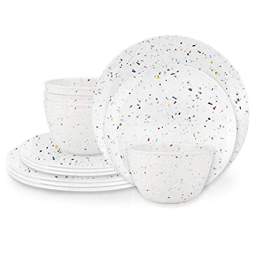 Zak Designs Confetti Melamine Dinnerware 12 Piece Set Service for 4 Includes Dinner Plates, Salad Plates, and Individual Bowls, BPA Free Durable and Eco-Friendly (White)