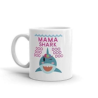 """Shark Mama"" Unique Ceramic Coffee Mug/Cup (11 oz.) — Birthday Mother's Day Christmas Gift For Mom Mother Grandma"