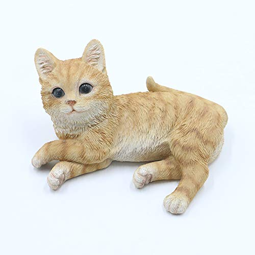 Bambelaa! Katze Figur Garten Skulptur Deko Gartenfigur Polyresin Für Außen und Innen Liegend Beige ca. 15,5 × 10 × 8 cm