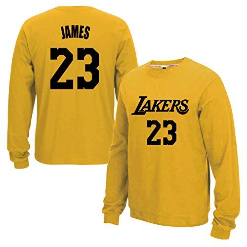 Lebron James Los Angeles Lakers 23# Basketball Jersey, Plus Velvet Langarm-Fan Trainings Pullover Sweatshirts, Geeignet für Wintersportler Trainings Yellow-M