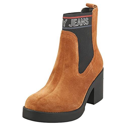 Tommy Hilfiger Damen Corporate Elastic Suede Boot Stiefeletten, Braun (Winter Cognac Gvi), 36 EU