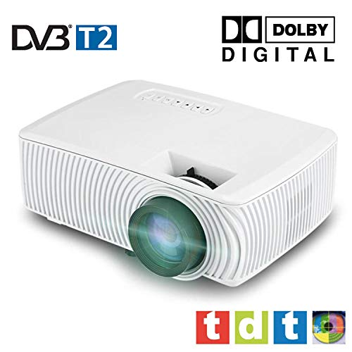 Full HD 1080P Beamer, SEELUMEN 2020 Neuer PW100-S, maximale Helligkeit transporttasche LED-Billig-LCD-Beamer mit DVB-T2 Tuner HDMI-USB-Unterstützung MKV AC3 für PS4, XBOX, Switch (weiß)
