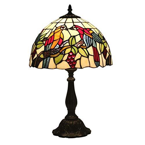 Lámpara de mesa estilo Tiffany Lámpara de cabecera con pantalla de vitrales, 49 cm de alto-30 cm de ancho Lámparas de escritorio con base antigua retro para café, sala de estar, dormitorio (Material: