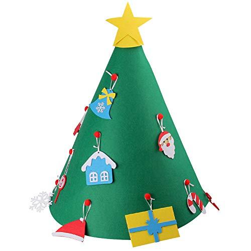 Gosear Fai da Te 3D Albero di Natale con 18pcs Toddler Amichevole Albero di Natale Sospeso Ornamenti per Bambini Regali di Natale Natale Casa Decorazioni
