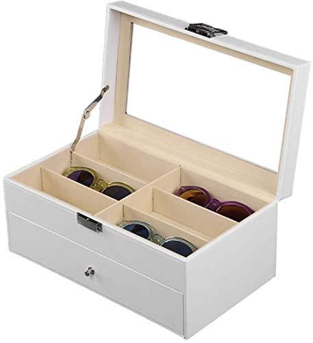 SHANCL 2 Strati di immagazzinaggio della Cassa della Scatola Occhiali Organizzatore smistamento Box Eyewear Bagagli Caso Orologi Show Case Protector Holder Box (Color : White, Size : 33.5X19X12CM)