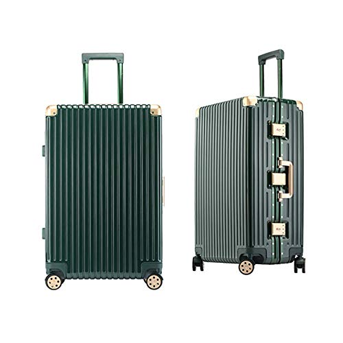 Luggage trolley suitcase caster aluminum frame men luggage suitcase boarding (Color : Green)