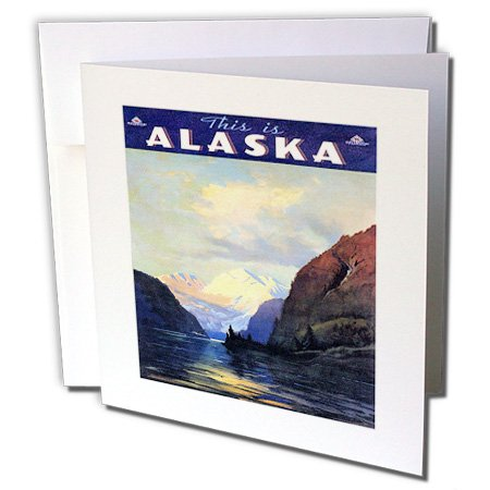 3dRose Alaska Vintage Travel Poster - Greeting Cards, 6 x 6 inches, set of 6 (gc_119289_1)