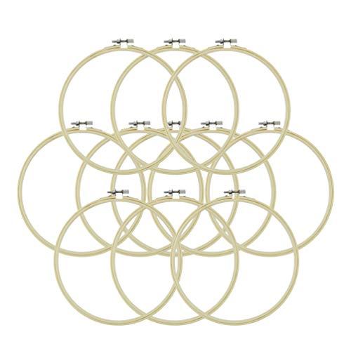 Artibetter 12 Piezas Aros de Bordado de Bambú Aros de Madera de Punto de Cruz Ajustable Anillos para Manualidades de Costura Artesanal 25 Cm