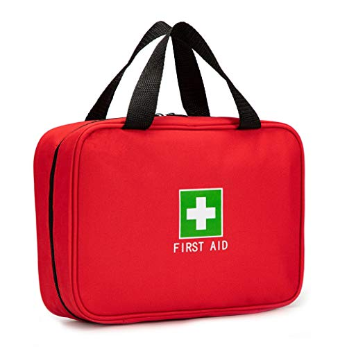 Jipemtra Red First Aid Bag Empty Travel Rescue Pouch First Responder Storage Compact Survival Medicine Bag for Car Home Office Kitchen Sport Outdoors (Red)