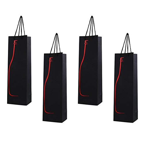 Vosarea 12pcs Wine Bags with Handles Paper Bottle Gift Bags Single Bottle Tote Wine Hand Bag (Red)