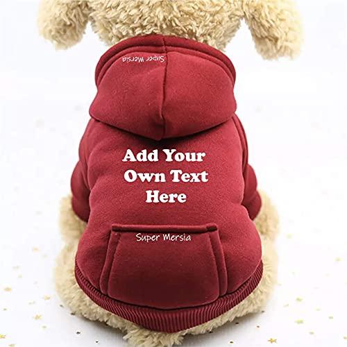 Super Mersia - Sudadera con capucha personalizada para perro y gato con bolsillo para perros pequeños (rojo, XXXL)