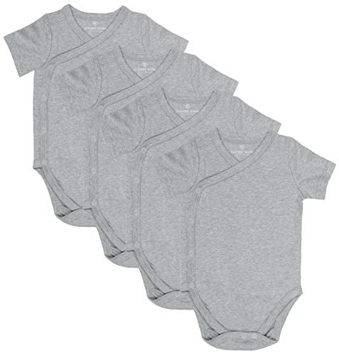 Baby Side Snap Bodysuit Set, Short Sleeve Cotton Boy Girl Kimono Onesie, 4 Pack