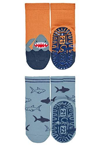 Sterntaler Jungen Fliesen Flitzer AIR Söckchen, Hai-Motive, Doppelpack, Alter: 4-5 Jahre, Größe: 27/28, Gelb
