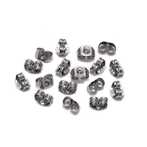 SNUIX Oreja Pendiente de acero inoxidable de nuevo enchufe de la base del pendiente Ajustes Espárragos Volver pendiente tapón for la joyería de DIY que hace 100Pcs 4 mm 4 5 6 8 mm
