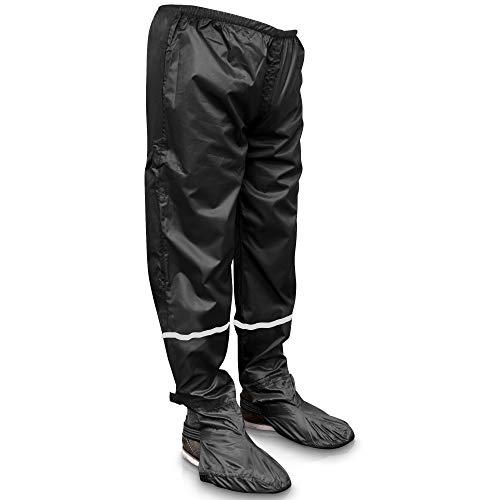 Rainrider Regenhose für Damen und Herren (schwarz) wasserdicht inkl. einfaltbare Schuhüberzieher, Regenfeste Fahrradbekleidung geeignet zum Wandern, Angeln oder als Gartenhose (schwarz, L)