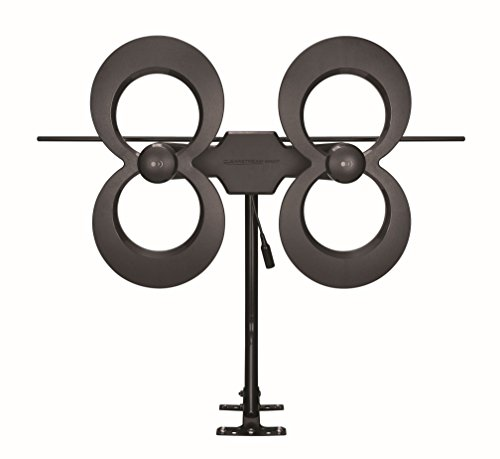 Antennas Direct Clearstream 4Max TV Antenna, 70+ Mile Range, UHF/Vhf, Multi-Directional, Indoor, Attic, Outdoor, Mast W/Pivoting Base/Hardware/Adjustable Clamp/Sealing Pads, 4K Ready, Black – C4MVJ