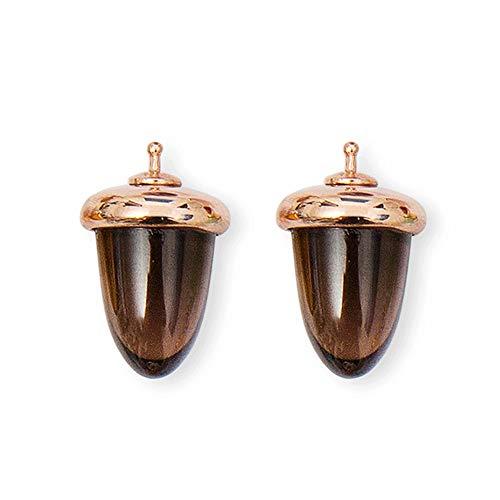 HEIDE HEINZENDORFF Einhängerpaar Tropfen Eichel glatt, Rauchquarz, 14 x 22mm, silber rhodiniert