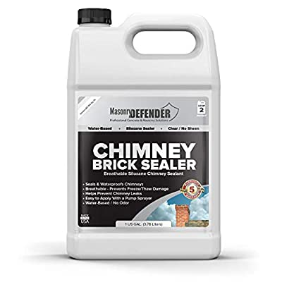 Chimney Brick Sealer, Clear Water-Based Siloxane Sealer - Breathable Water Repellent for All Exterior, Vertical Masonry Surfaces, 1 gal
