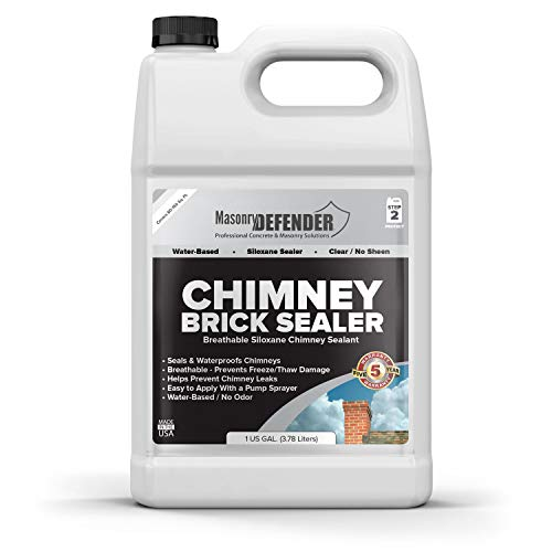 Chimney Brick Sealer, Clear Water-Based Siloxane Sealer - Breathable Waterproofer for All Exterior, Vertical Masonry Surfaces, 1 gal