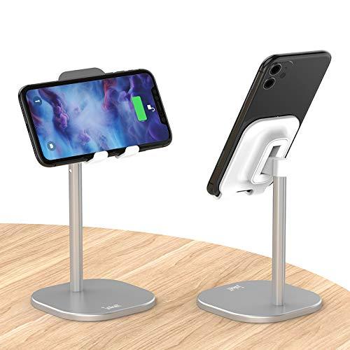 jakeT Handyhalterung Tisch Verstellbar Winkel Handy Ständer für iPhone 8 11 X Plus Pro Max iPad Mini Samsung und Huawei 4-7.9 Zoll Silber
