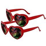 Heart Shaped Sunglasses 2 Pairs, Heart Effect...