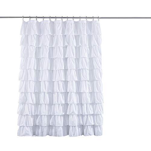 Sabarry Gerüschter Duschvorhang Antibakteriell Wasserabweisend Polyester Stoff Badezimmer Vorh?nge Für Badezimmer Badewanne Weiß