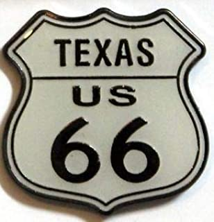 Quality Handcrafts - Route 66 Texas Sign Hat Pin White Road Sign Logo Travel Road Trip Tie Tac - Accessories for Clothes Decoration