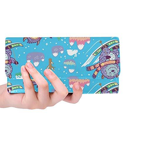 Einzigartige Custom Fun Yetis Snowboarden Skifahren Frauen Trifold Wallet Lange Geldbörse Kreditkarteninhaber Fall Handtasche