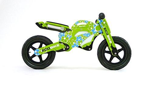 Kinderloopfiets, motorfiets van hout, wielen (12 inch) met luchtbanden, stuur en in hoogte verstelbare zitting. Eco