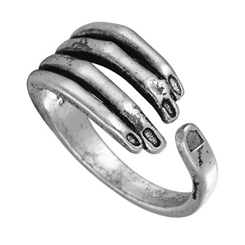 Chengxun Unisex Stainless Steel Rings Vintage Black Gothic Men Adjustable Silver Rings