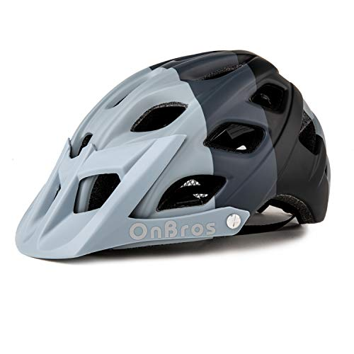 OnBros Mountain Bike Helmet for Adults, MTB Bicycle Helmets with Sun Visor, Lightweight Cycling Helmets for Women and Men, CE Certified (Ash Black)