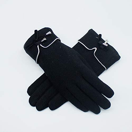 Uoyov Otoño e invierno de Nueva felpa gruesa Touch Screen señoras guantes de cachemir Forro de punto de lana de cinco dedos de conducción al aire libre Riding caliente y fría Estudiante dedo guantes s