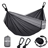WOVUU Camping Hammock Double Outdoor Travel Portable Hammock,Durable Lightweight Parachute Nylon Hammocks with Tree Straps,Carabiners for Garden Camping Backpacking Hiking Adventures