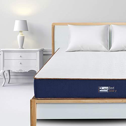 BedStory - Materasso singolo in memory foam, 90 x 190 x 23 cm, materasso ibrido a molle insacchettate, misura media, certificato OEKO-TEX e resistente al fuoco, 90 x 190 x 23 cm