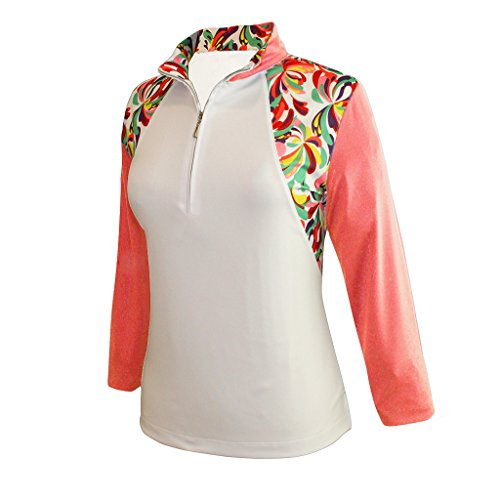 Monterey Club Ladies' Dry Swing Water Fountain Print Colorblock 3/4 Sleeve Shirt #2347 (White/Peach Pink, X-Large)