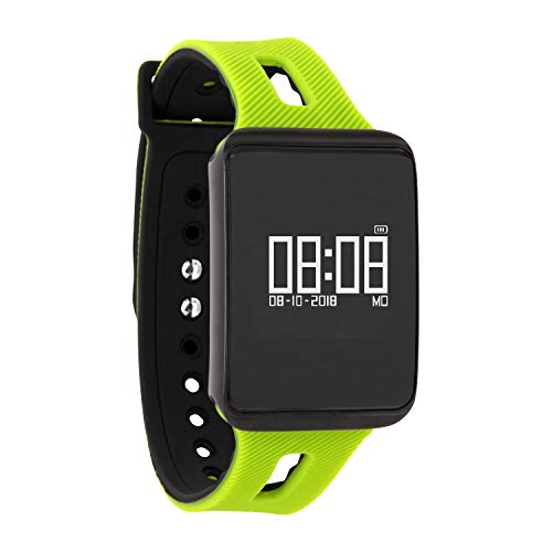 KETO Fitnesstracker voor dames en heren, armband met hartslagmeter, smartwatch bloeddruk, smartwatch zwemmen, sporthorloge, donkervuur, Apple green, 0.96 inch, apple green