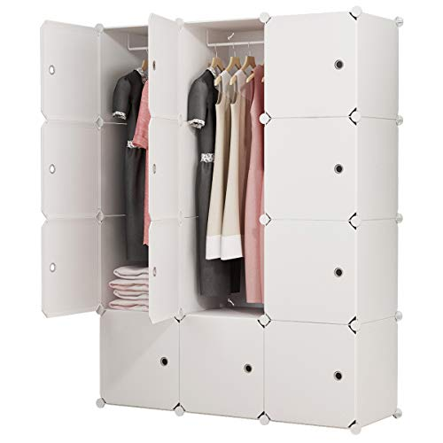 "MAGINELS Portable Closet Clothes Wardrobe 14""x18"" Depth Bedroom Armoire Modular Storage Organizer with Doors, 12 Cubes"