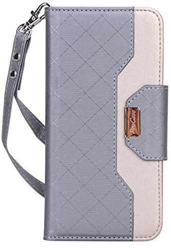 Procase Google Pixel 3a Wallet Case for Women, Stylish Folio Case Flip Cover with Card Holder Mirror Hand wristlet Strap -Grey