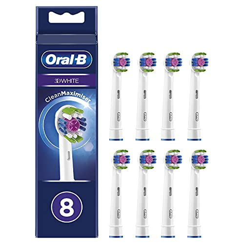 Oral-B 3D White Testine di Ricambio per Spazzolino Elettrico con Tecnologia CleanMaximiser, Confezione da 8 Pezzi, Pacco Adatto alla Buca delle Lettere