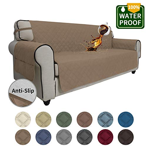 Easy-Going Sofa Slipcover Waterproof Couch Cover Non-Slip Sofa Cover for 4 Cushion Couch Seamless Whole Piece Fabric Furniture Protector for Pets Kids Children Dog Cat(Oversized Sofa, Camel)