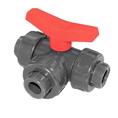 well2wellness® PVC-Kugelhahn 3-Wege Klebeanschluss mit T-Bohrung 32mm