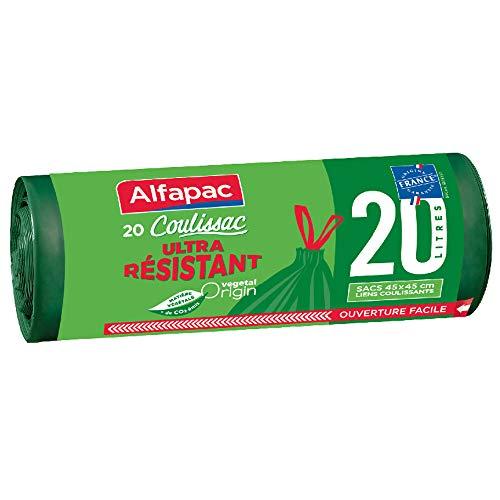 ALFAPAC - 20 sacs 20L à lien coulissant - Sacs Poubelle Ultra Résistant - Vegetal Origin, 45 x 45 cm