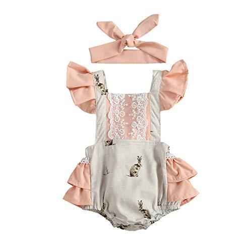 L&ieserram Komplettes Kleid mit Hasenmotiv, bedruckt, Spitze, Osteranzug, Kurzarm, mit Spitze und Stirnband für Ostern, Frühling, Sommer, Herbst, 2 Stück, Pink 6-12 Monate