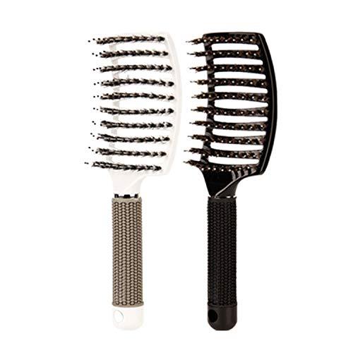 brosse à cheveux en poils de sanglier-brosse à cheveux démêlante incurvée et ventilée pour femmes longue, épaisse, fine brosse à cheveux bouclés Kit cadeau